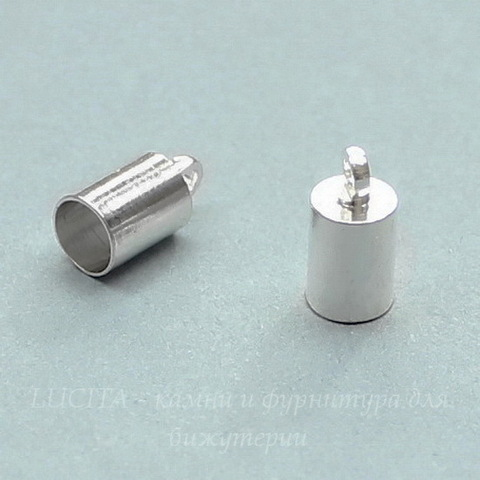 Концевик для шнура 4,5 мм, 10х5 мм (цвет - серебро), 10 штук