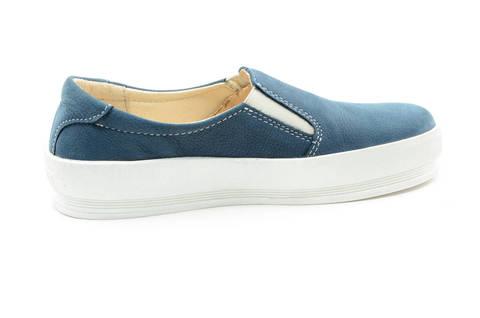 Слипоны на толстой подошве кожаные Лель (LEL) для девочек, цвет темно синий. Изображение 4 из 14.
