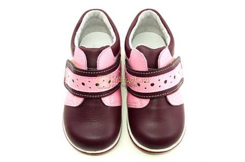 Ботинки Лель для девочек кожаные, демисезонные, ортопедические, на липучках, цвет бордо. Изображение 10 из 13.