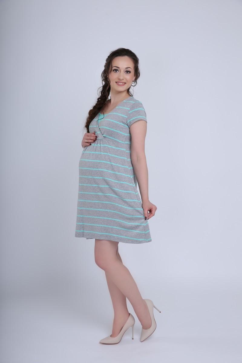 Платье 08720 серый меланж/ментол