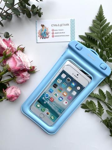 Чехол водонепроницаемый Usams для телефона до 6.0 /blue/ голубой