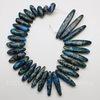 Бусина Яшма Императорская (прессов.,тониров), продолговатая, цвет - синий, 12-46 мм, нить