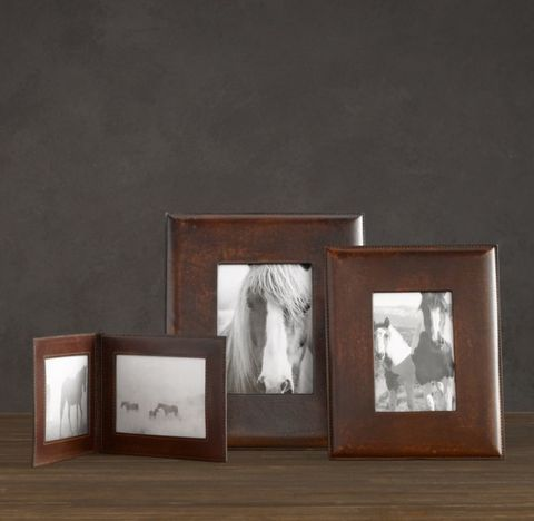 Artisan Leather Wide Tabletop Frame - Chocolate