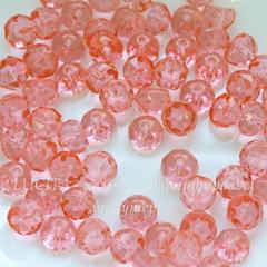 Бусина Hill Полусфера с огранкой, 8 мм, прозрачная красно-розовая