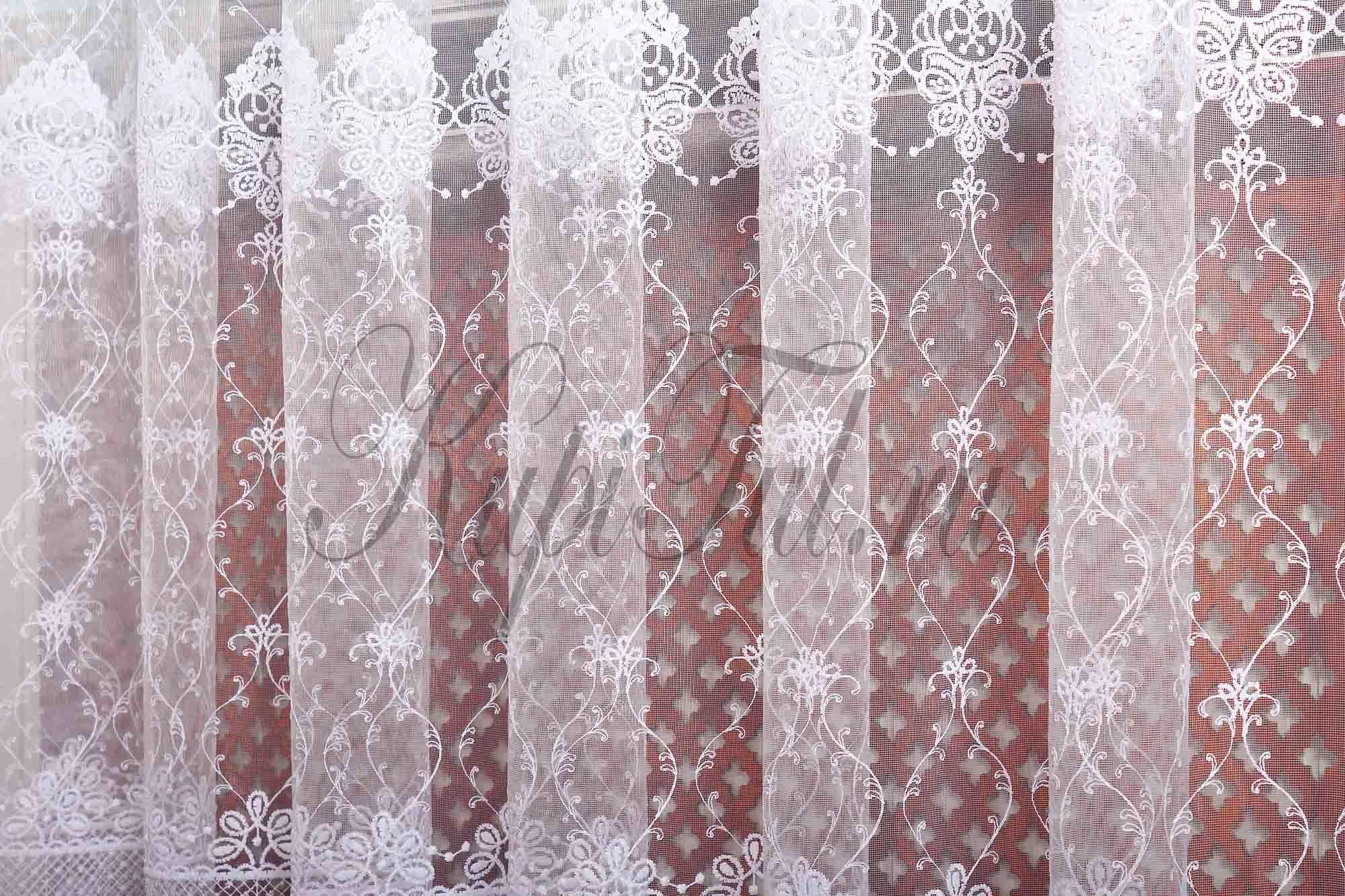 Микросетка с вышивкой Лель (белая)