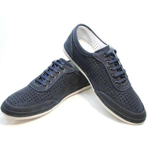 Walking shoe - спортивные туфли кроссовки с перфорацией. Темно синие кроссовки нубук мужские Vitto-Bl.
