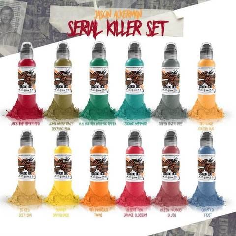 Краска World Famous Tattoo Ink  Jason Ackerman Serial Killer 12 Bottle Set