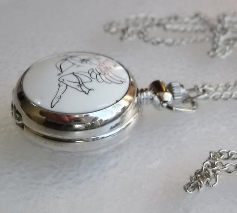 """Часы на цепочке """"Амурчик"""" с зеркальцем (цвет - платина) 44х29х13 мм ()"""