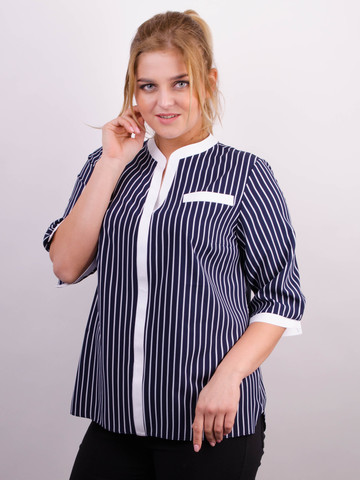 Аврора. Комбинированная блуза больших размеров. Синий+полоса.
