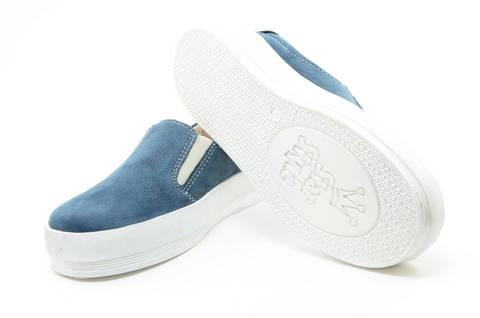 Слипоны на толстой подошве кожаные Лель (LEL) для девочек, цвет темно синий. Изображение 9 из 14.