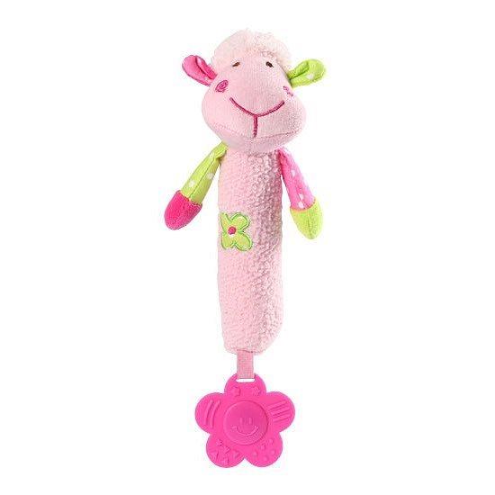 Игрушка - пищалка BabyOno Розовая овечка 24 см