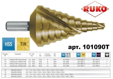 Сверло ступенчатое под кабельную пр-цию Ruko CBN HSS-TiN 6,5-40,5мм L96мм 11 ступеней 101090T