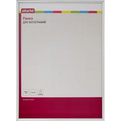Рамка А3(30х40)ATTACHE серебряная, пластиковый багет 10мм, настен.