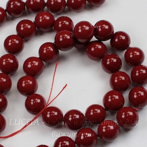 Бусина Перламутр (категория А)(тониров), шарик, цвет - красный, 8 мм, нить