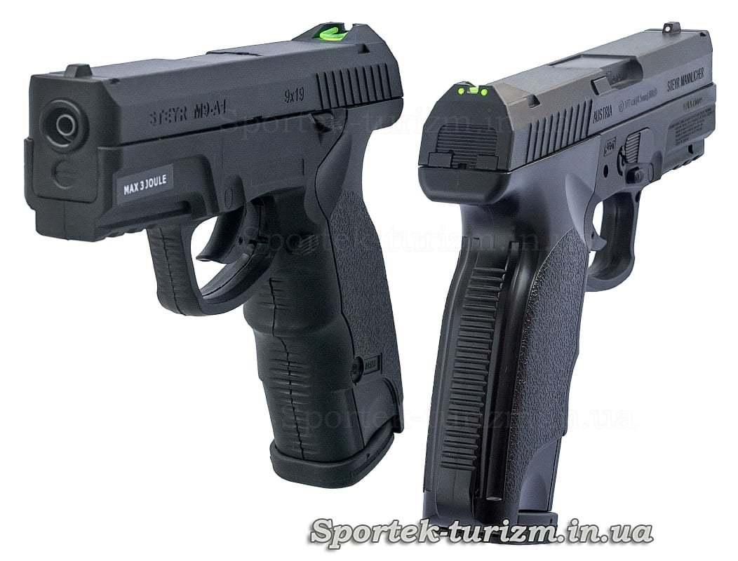 Вид середи и сзади на пневматический пистолет ASG Steyr M9-A1 4,5мм черный