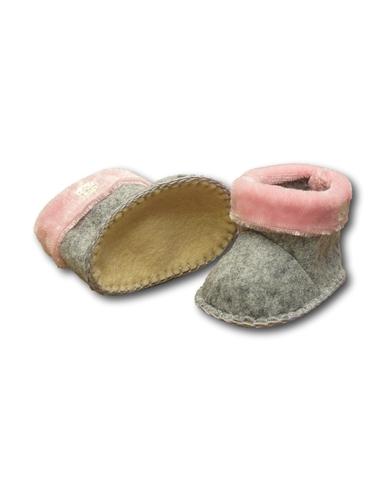 Сапожки с отворотом - Серый / розовый. Одежда для кукол, пупсов и мягких игрушек.