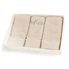 Набор махровых салфеток LEAF JAKARLI 30х50 3шт Soft Cotton (Турция)