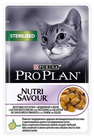 Корм для кошек Purina Pro Plan (0.085 кг) 1 шт. NutriSavour Sterilised feline with Turkey in jelly