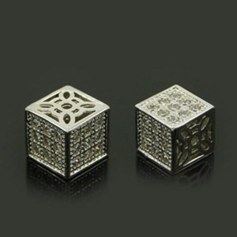 Бусина кубик c цирконами 8 мм цвет платина