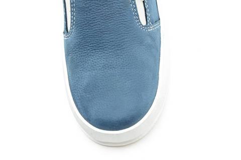Слипоны на толстой подошве кожаные Лель (LEL) для девочек, цвет темно синий. Изображение 11 из 14.