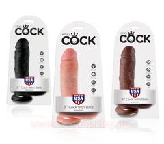 "Реалистичный фаллоимитатор King Cock  8"" Cock with Balls (4,8 х 14,6 см.) (цвета в ассортименте)"