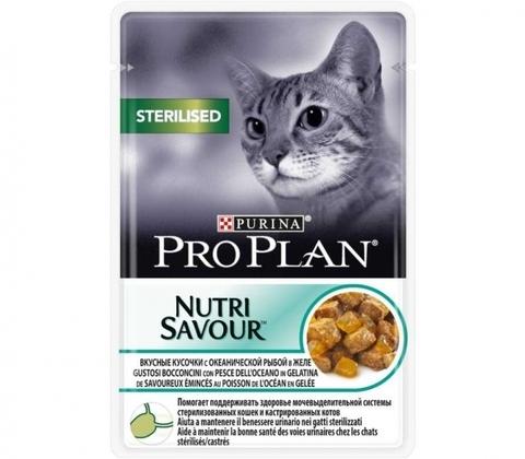 Корм для кошек Purina Pro Plan (0.085 кг) 1 шт. NutriSavour Sterilised feline with Ocean Fish in gravy