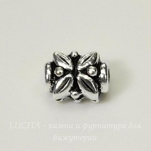 "Бусина TierraCast ""Листики"" (цвет-античное серебро) 8х6х5 мм"