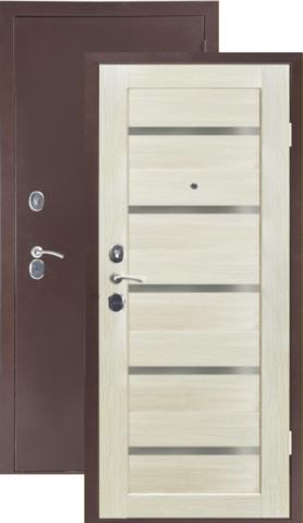 Дверь входная Sidoorov 80 3К Бьянка, 2 замка, 1,5 мм  металл, (медь антик+акация светлая)