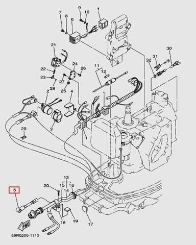 Вывод провода для лодочного мотора Т30 Sea-PRO (9-5W)