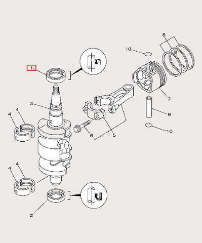 Сальник коленвала верхний 30×42×7-R для лодочного мотора F9,9 Sea-PRO (3-1)
