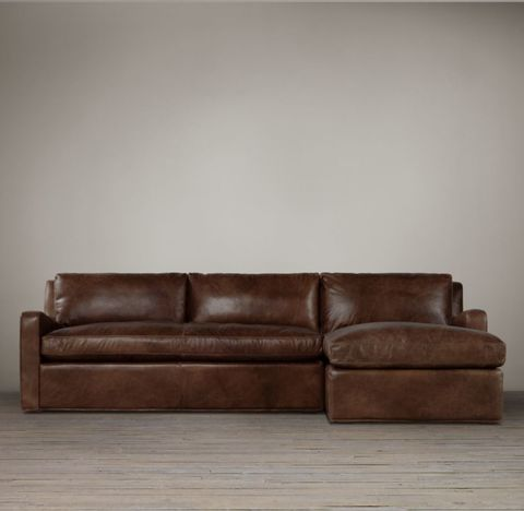 Belgian Slope Arm Leather Right-Arm Sofa Chaise Sectional