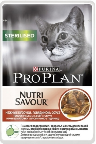 Корм для кошек Purina Pro Plan (0.085 кг) 1 шт. NutriSavour Sterilised feline with Beef in gravy
