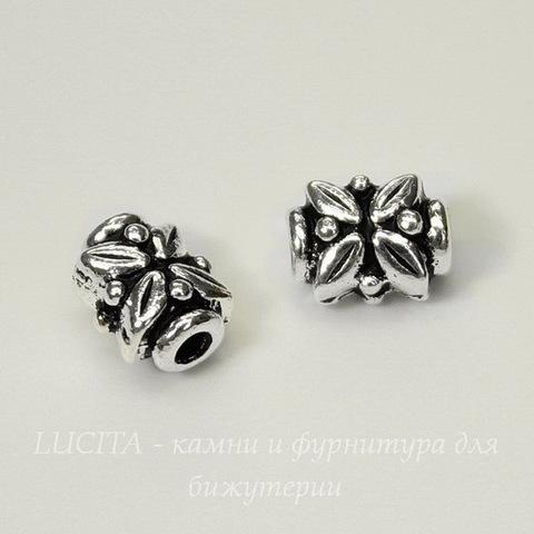 "Бусина TierraCast ""Листики"" 8х6х5 мм (цвет-античное серебро)"