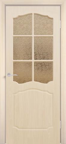Дверь Сибирь Профиль Классика, цвет беленый дуб, остекленная