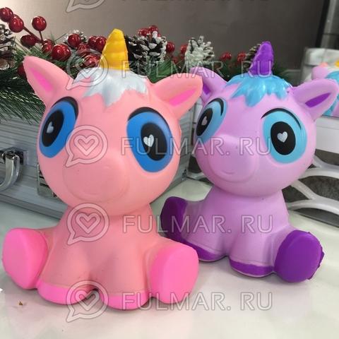 Единороги-голубоглазики Лиловый и Розовый 2 штуки Сквиши игрушка антистресс
