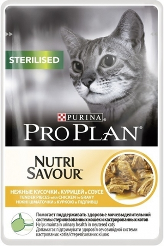 Корм для кошек Purina Pro Plan (0.085 кг) 1 шт. NutriSavour Sterilised feline with Chicken in gravy