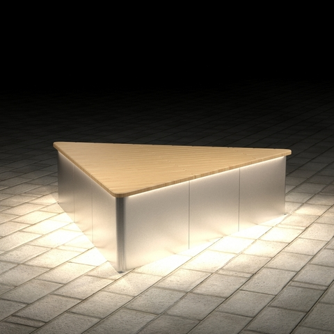 Triangular settle PUBLIC with lights