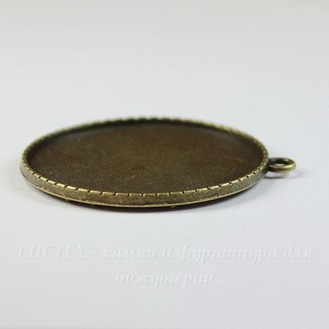 Сеттинг - основа - подвеска для камеи или кабошона 40 мм (цвет - античная бронза)