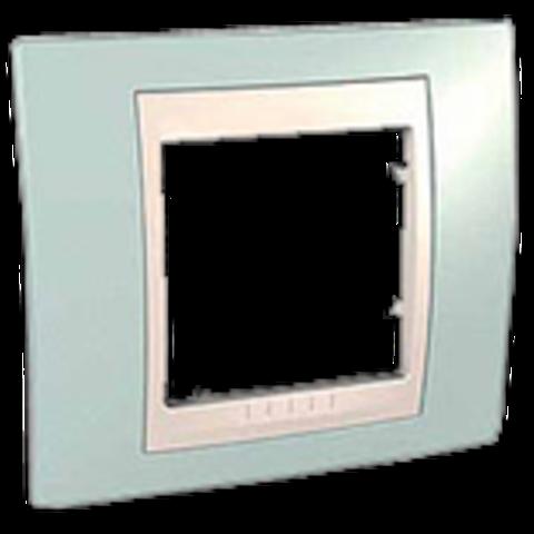 Рамка на 1 пост. Цвет Морская волна/белый. Schneider electric Unica Хамелеон. MGU6.002.870