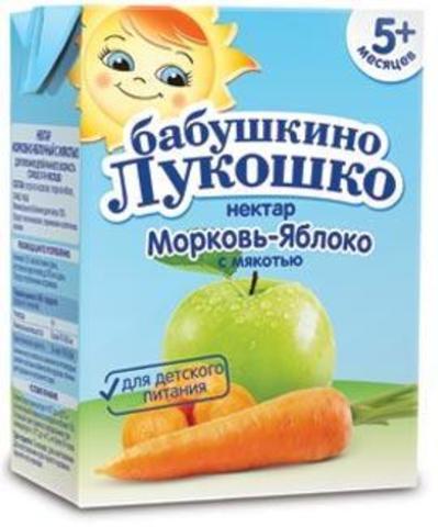 Бабушкино Лукошко Нектар морковно-яблочный с мякотью с 5 мес. 200мл