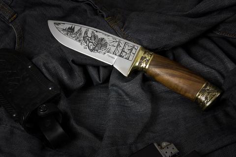 Туристический нож Глухарь украшенный Мельхиором