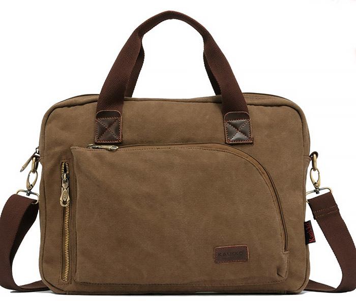 BAG400-2 Удобный мужской портфель из ткани с ремнем на плечо