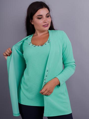 Дона. Жакет+блуза для женщин больших размеров. Мята.