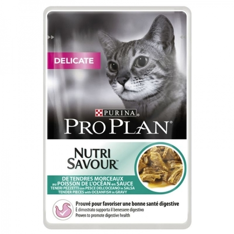 Корм для кошек Purina Pro Plan (0.085 кг) 1 шт. NutriSavour Delicate feline with Ocean Fish in gravy