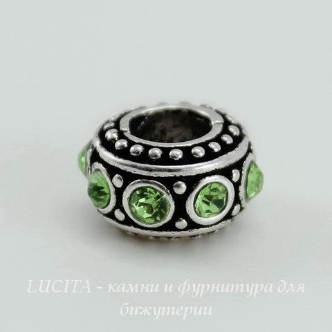 Бусина металлическая - рондель со светло-зелеными стразами (цвет - античное серебро) 11х6 мм