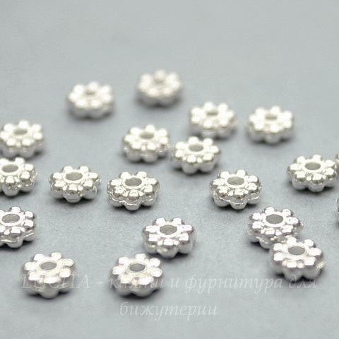 Бусина металлическая - спейсер (цвет - серебро) 5х2 мм, 20 штук