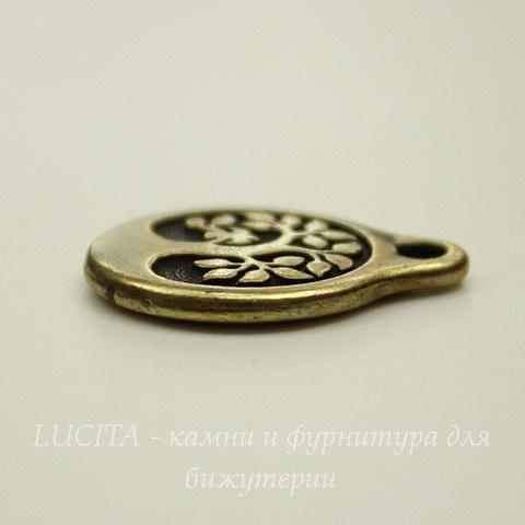 """Подвеска круглая TierraCast """"Дерево"""" (цвет-античная латунь) 20х16 мм"""