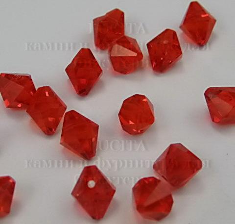 Бусина стеклянная, биконус, цвет - красный, 6 мм ()