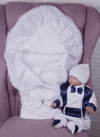 Комплект на выписку для мальчика Волшебный белый с синим
