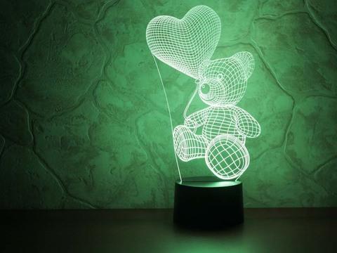 3D светильник Абстракция Медвежонок с шариком